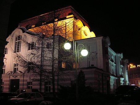 Toruń, Horzyca Theater Theatre, Texas At Night