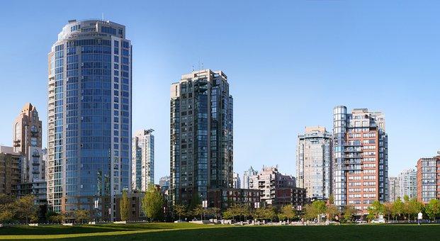 Park, Field, Condos, Vancouver, Architecture, Skyline