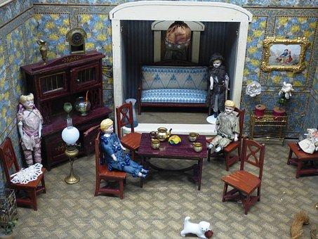 Dollhouse, Chairs, Images, Retro, Vintage, Dresser, Dog