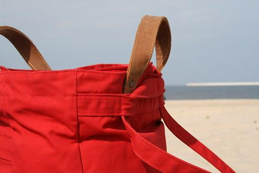Bag, Beach Bag, Red, Beach, Sand, Sky, Sea, Water