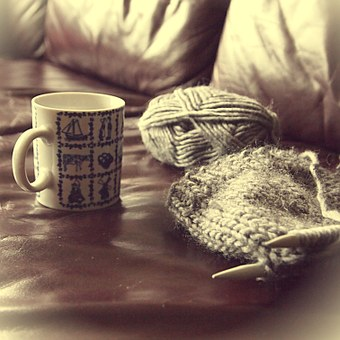 Coffee, Cup, Delfts Blue, Wool, Knitting, Cup Of