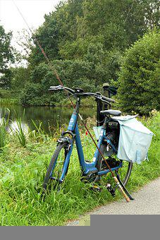 Bicycle, Fishing Rod, Fishing Tackle, Countryside, Bag