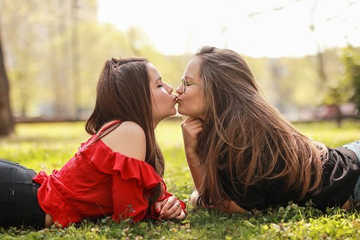 Girls, Kissing, Couple, Kiss
