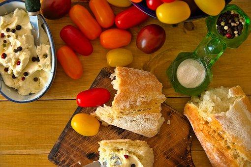 Tomatoes, Cream Cheese, Baguette, Breakfast, Brunch