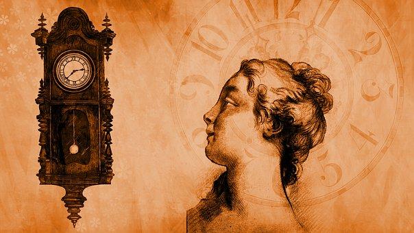 Lady, Time, Clock, Head, Profile, Person, Female, Woman