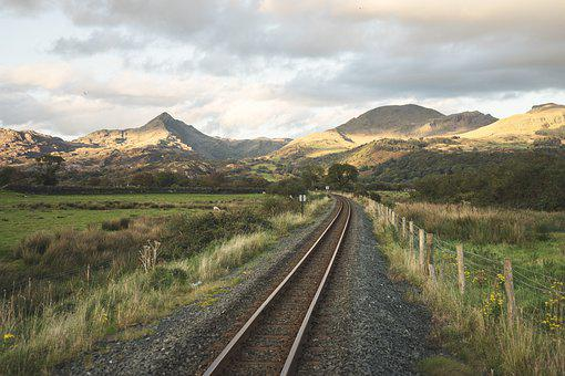 Railroad, Fence, Mountains, Train Tracks, Railway