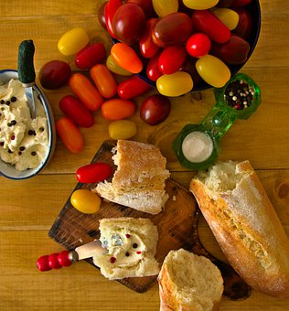 Food Photography, Flat Lay, Baguette, Tomatoes