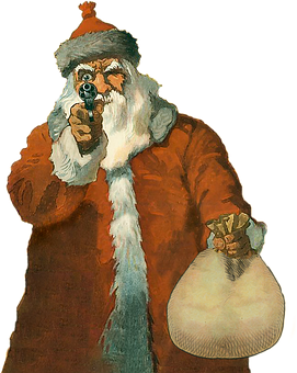 Santa, Gun, Weapon, Grumpy, Vintage