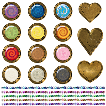 Buttons, Ribbons, Hearts, Colorful