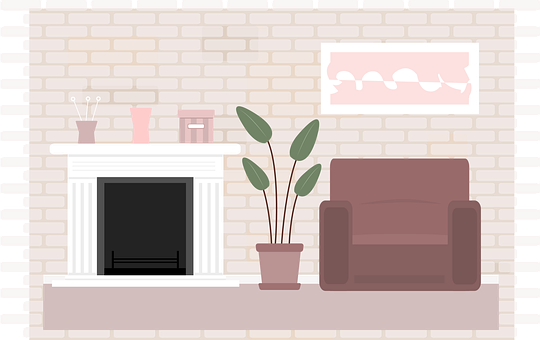 House, Couch, Sofa, Plant, Chimney, Wall
