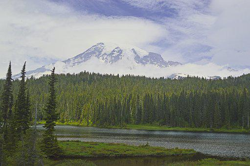 Mount Rainier, Stratovolcano, Volcano, Mountain, Lake