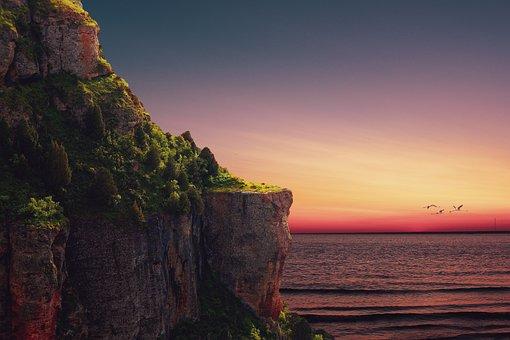 Cliffs, Mountain, Sea, Sunset, Landscape