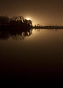 River, Bridge, Night, City Lights, Skyline, Mysterious