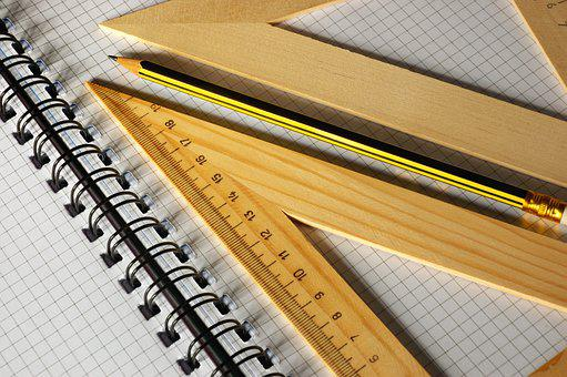 Pencil, Ruler, Notebook, Paper