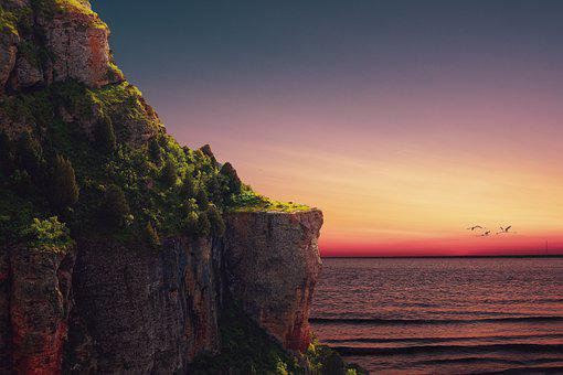 Cliff, Sea, Sunset, Ocean, Rock Formation, Dusk, Birds