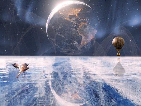 Composite, Fantasy, Reflection, Ice, Frozen, Space