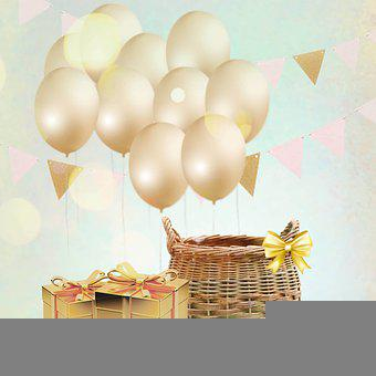 Balloons, Basket, Ribbon, Decoration, Baby