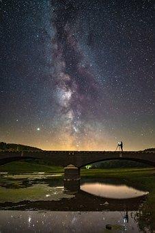 Stars, Starry Sky, Night Sky, Bridge, Lake, River