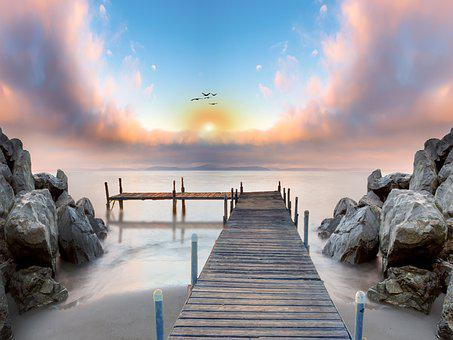 Digital Painting, Jetty, Rocks, Sunset, Pier, Boardwalk