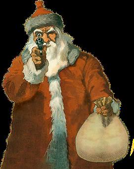 Santa, Gun, Weapon, Grumpy, Vintage, Poster, Humbug