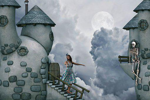 Girl, Moon, Castle, Skeleton, Clouds, Stairs, Fantasy