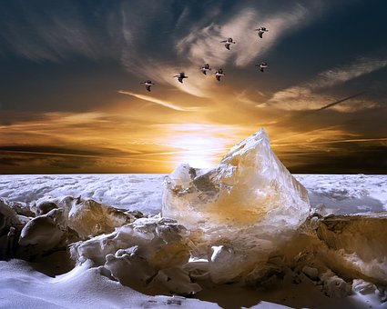 Iceberg, Sunset, Landscape, Dark Clouds, Blue Sky, Snow