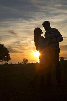 Couple, Silhouette, Sunset, Lovers, Romance