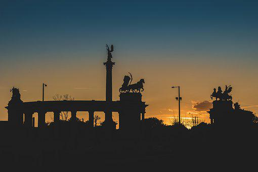 Sunset, Silhouettes, Statues, Monument, Sculptures