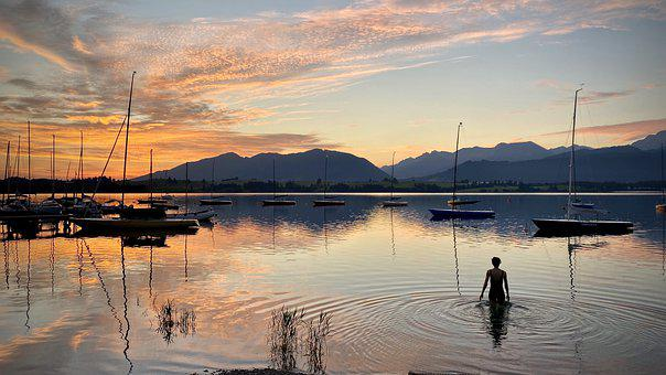 Sunrise, Woman, Sailboats, Reflection, Sunset, Dusk
