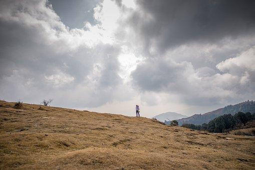 Mountains, Field, Grass, Meadows, Clouds, Sunshine