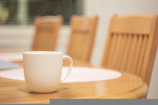 Table, Chairs, Mug, Cup, Surface, Drink, Beverage