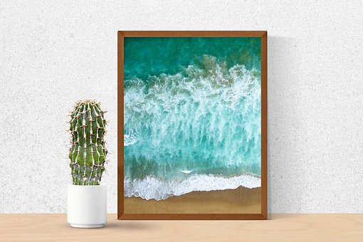 Table, Cactus, Painting, Frame, Picture, Sea Painting