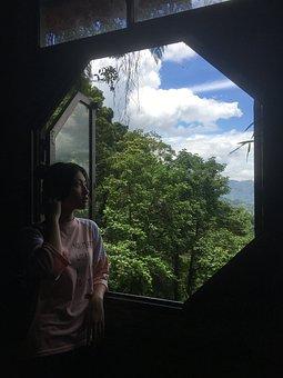 Girl, Window, Octagon, Octagon Window, Asian Girl