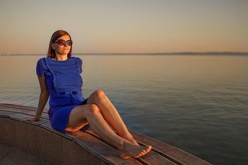 Lake, Woman, Sunglasses, Dress, Young, Holiday, Sunset