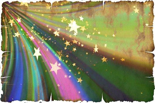 Star, Christmas, Rainbow, Rays, Abstract, Parchment