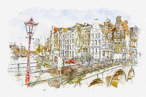Buildings, Street, Bridge, River, Town, City, Center