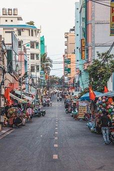 Street, Buildings, City, Asia, Road, Lane, Asphalt