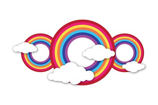 Background, Rainbow, Clouds, Cartoon, Colorful, Cute