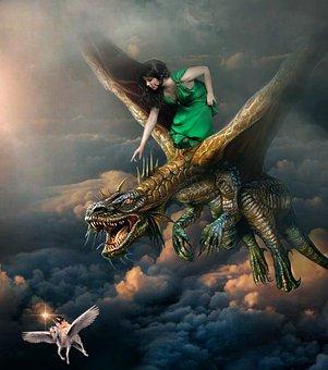 Woman, Dragon, Unicorn, Creature, Sky, Clouds