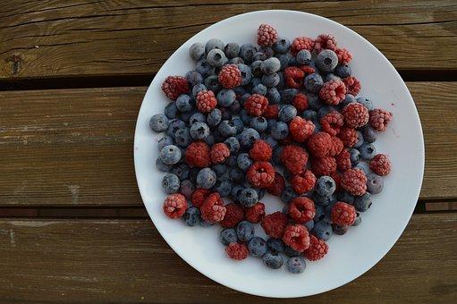 Raspberries, Blueberries, Berries, Fresh Berries, Plate