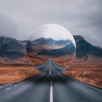 Sphere, Ball, Glass, Mountain, Highway, Road