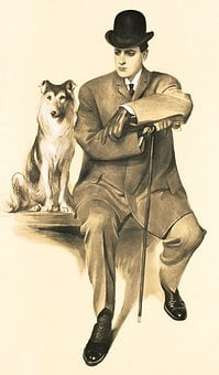 Man, Dog, Hat, Painting, Bowler Hat, Cane, Suit