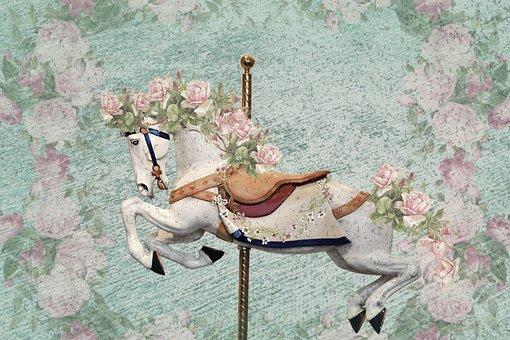 Horse, Flowers, Carousel, Carousel Horse, Funfair