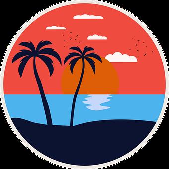Icon, Summer, Beach, Sunset, Sunset Icon, Summer Icon