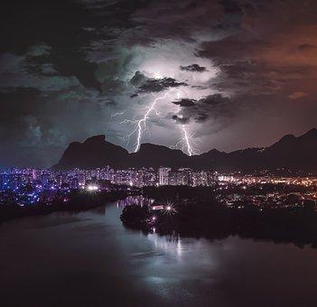 Buildings, Mountains, Lightning, City, Storm, Sky