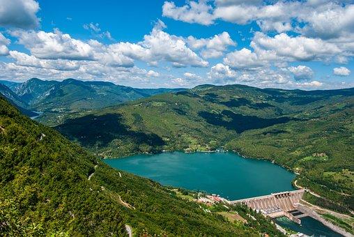 Lake, Mountains, Valleys, Mountain Range, Dam, Trees