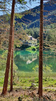 House, Lake, Trees, Mountains, Forest, Alps, Alpine