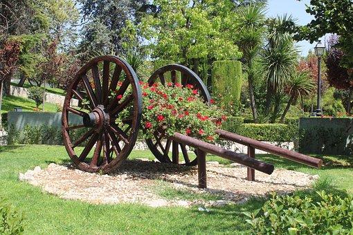 Wagon, Garden, Plants, Landscaping, Flowers, Grass