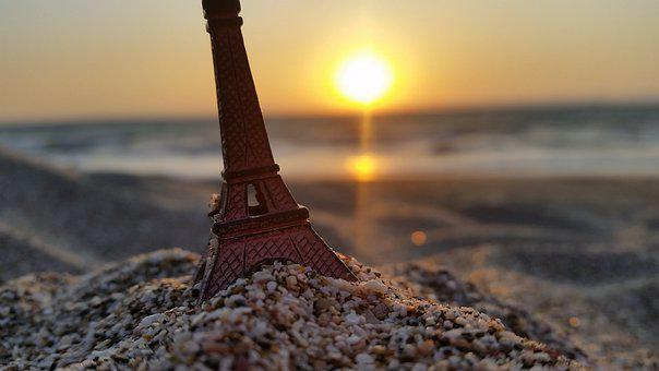 Miniature Eiffel Tower, Sand, Sunset, Beach, Seashore