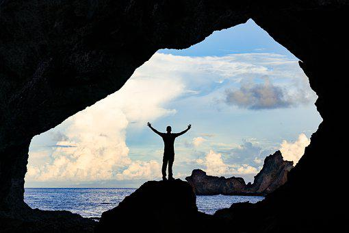 Cave, Silhouette, Man, Sea, Coast, Waters, Ocean
